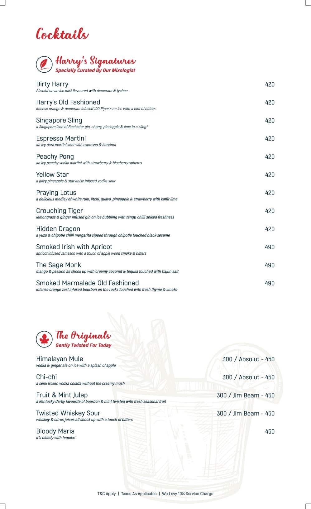 Harry\'s Bar & Kitchen Menu - Zomato