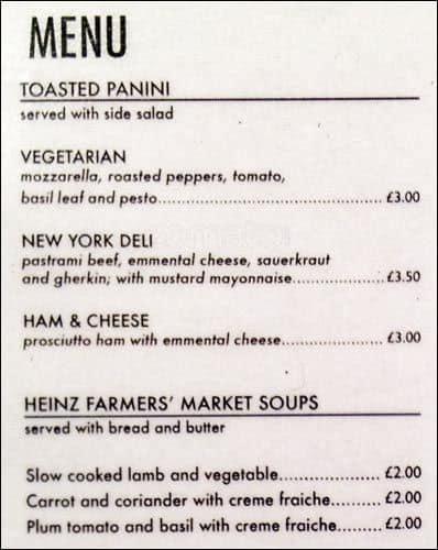 the living room menu, menu for the living room, soho, london