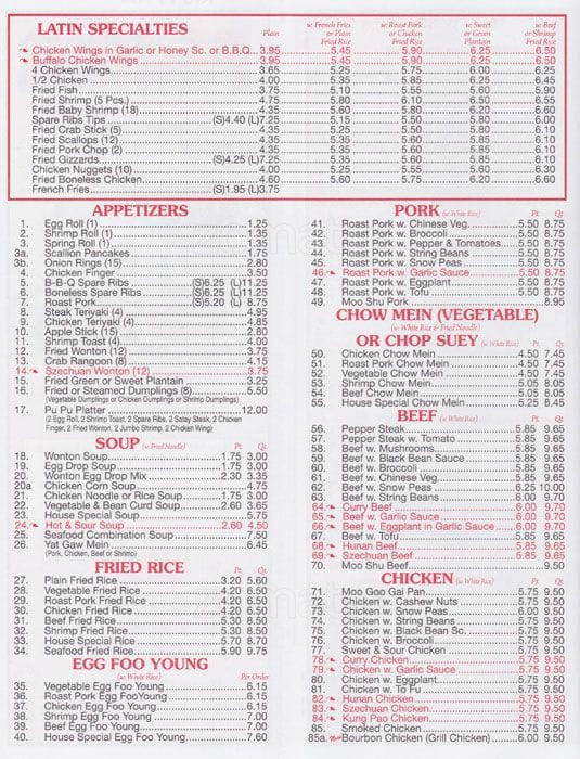 Peking Restaurant Queens Village Menu