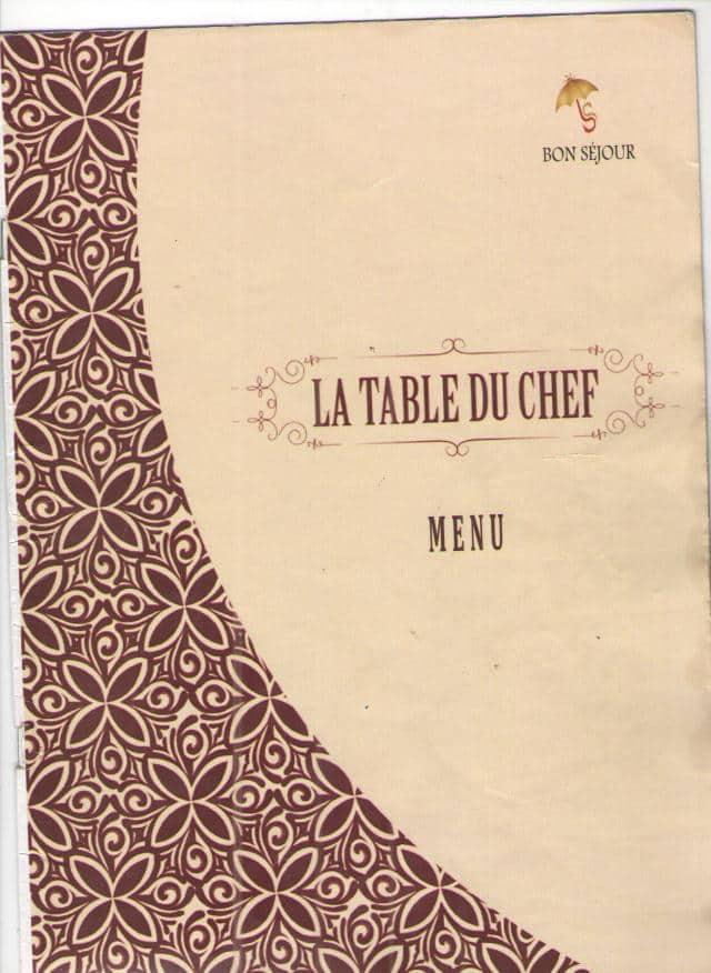 La Table Du Chef Hotel Bon Sejour Menu Zomato