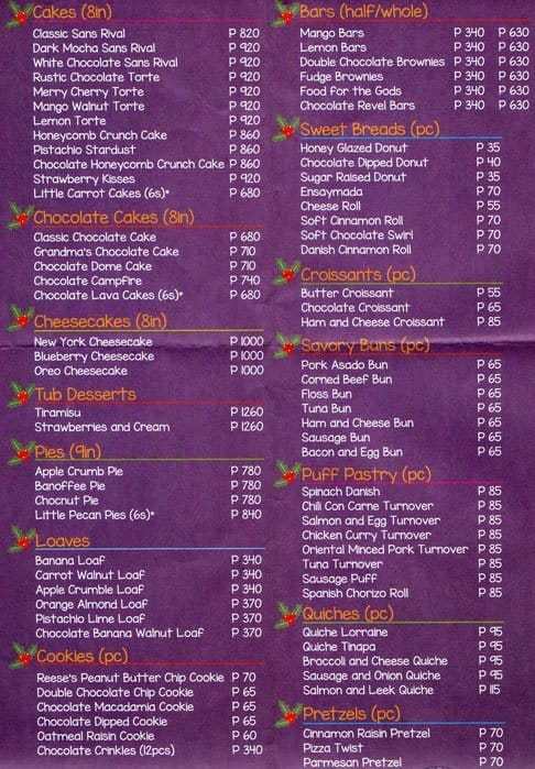 Image gallery purple oven for Terrace 33 makati menu