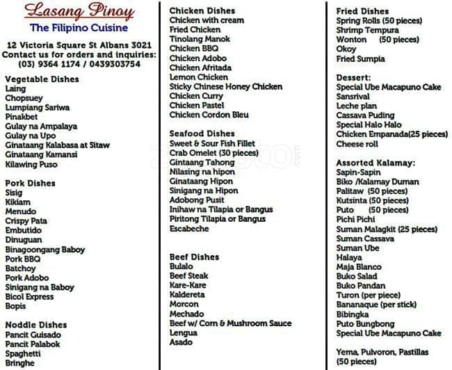 Lasang Pinoy St Albans Menu