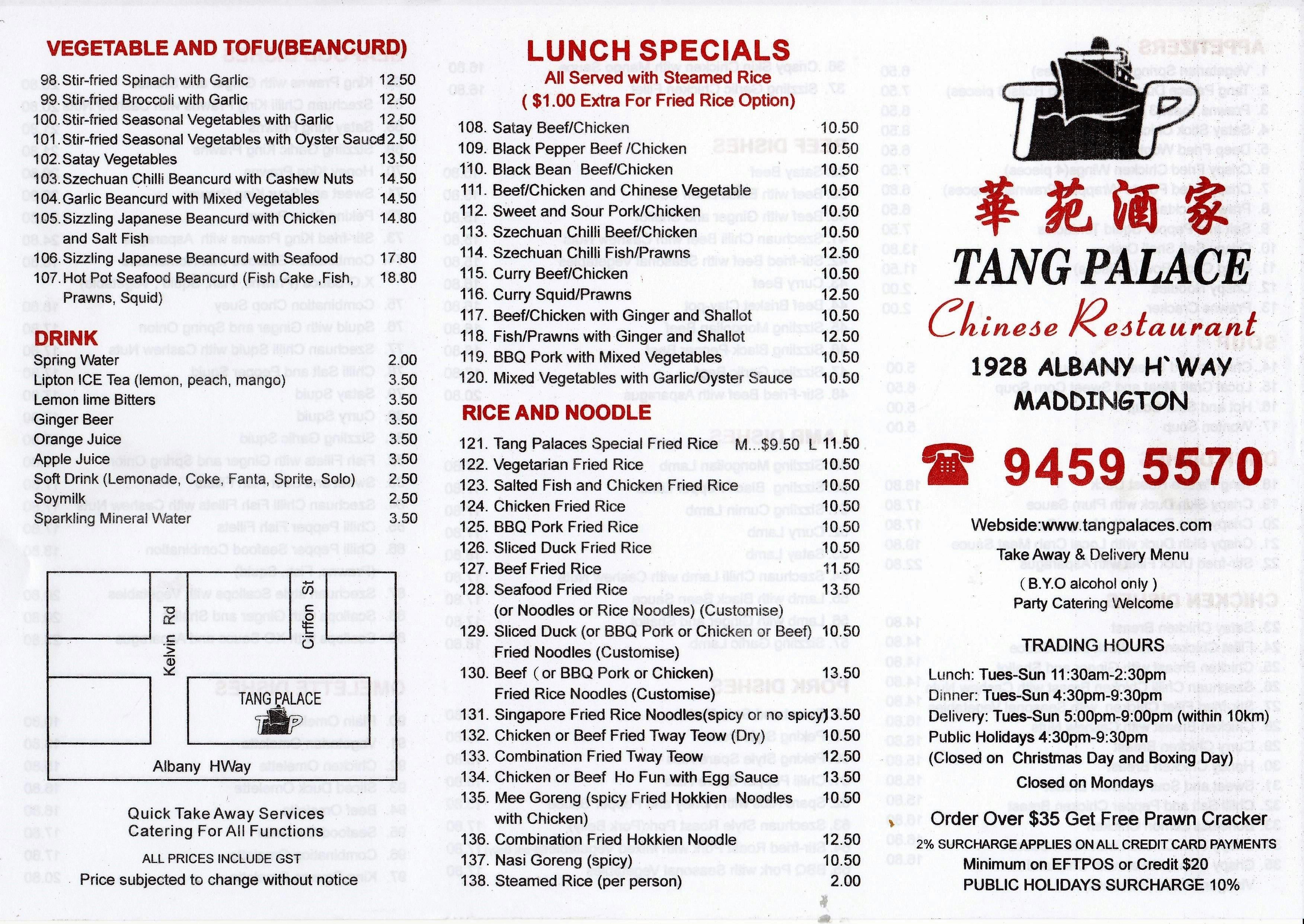 Treasure Palace Chinese Restaurant Maddington Menu