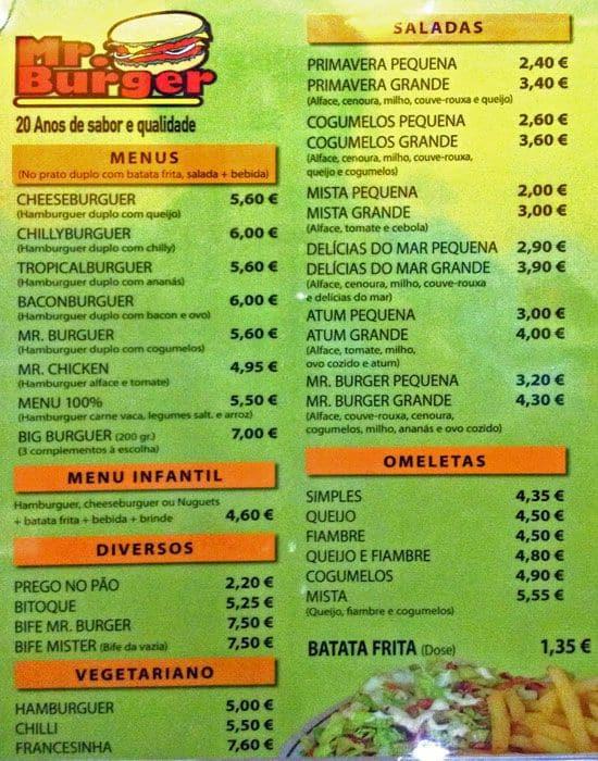 Mr. Burger Menu, Menu for Mr. Burger, Mafra Centro, Lisboa ...