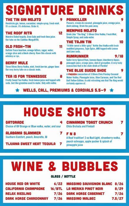 Tin Roof · A Live Music Joint Menu - Urbanspoon/Zomato