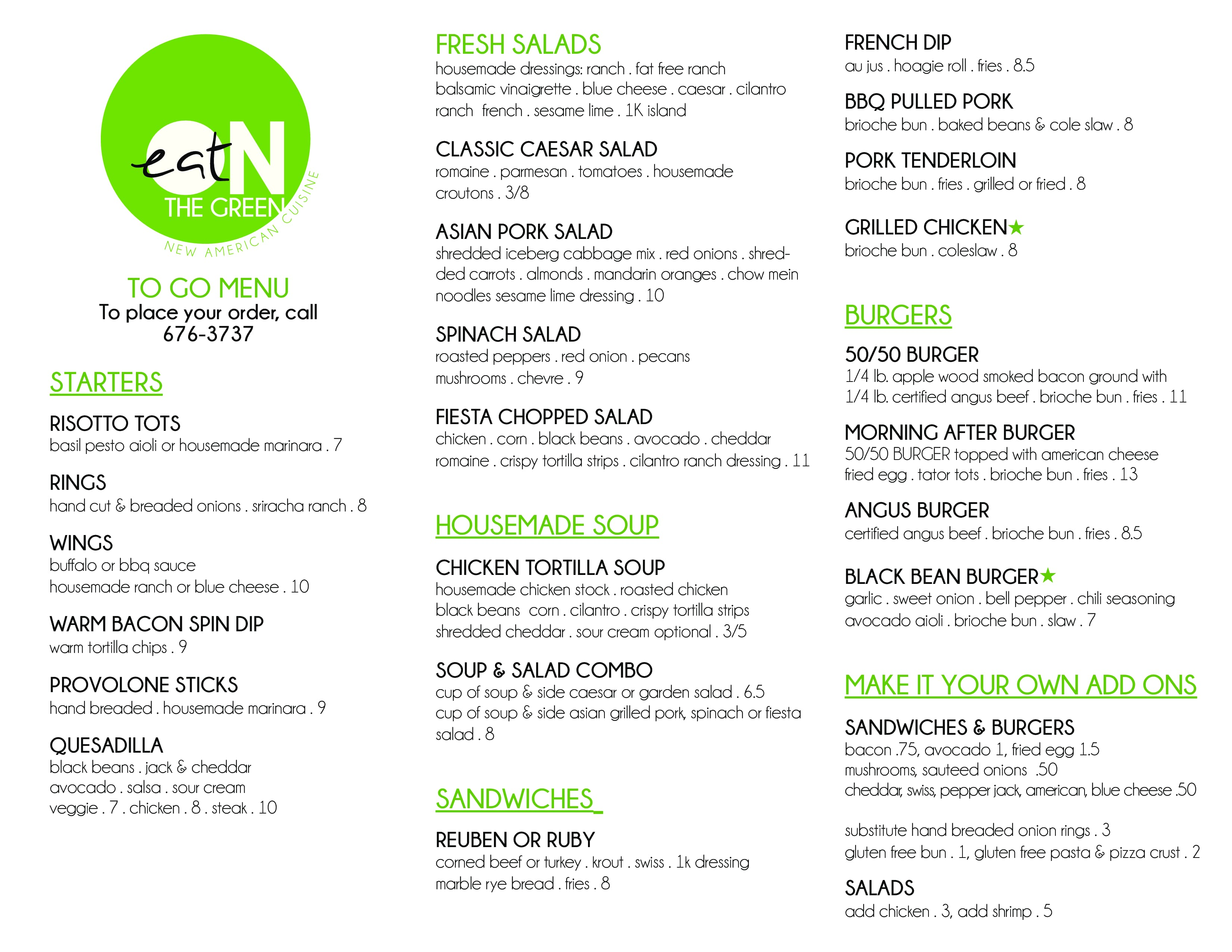 On the green new american cuisine menu urbanspoon zomato - Modern american cuisine ...