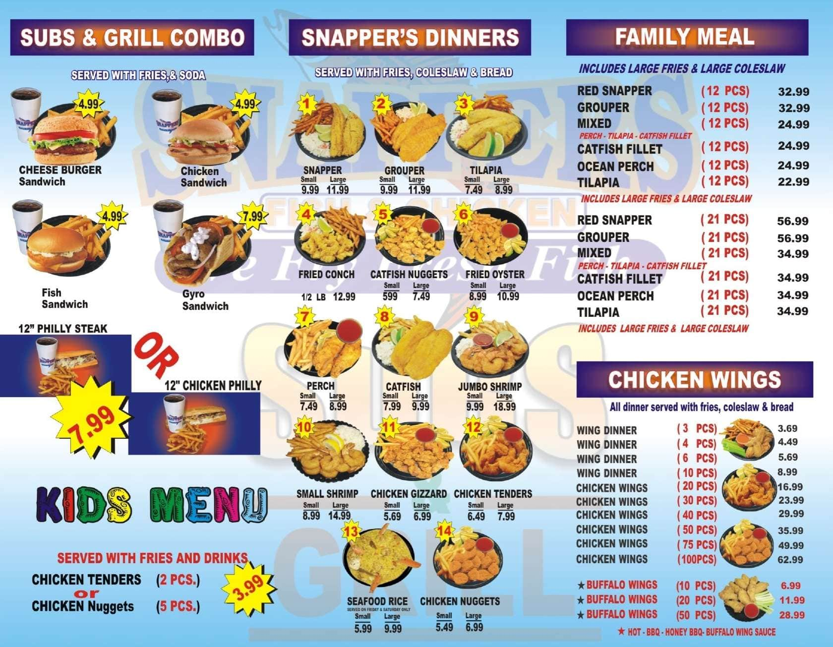 Snappers food may 20 2018 for Two fish menu