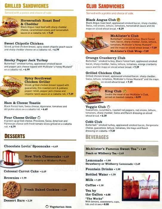 photo relating to Mcalister's Printable Menu referred to as McAlisters Deli, Aurora, Denver - Urbanspoon/Zomato