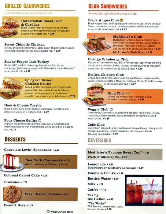 image regarding Mcalisters Deli Printable Menu titled McAlisters Deli, Aurora, Denver - Urbanspoon/Zomato