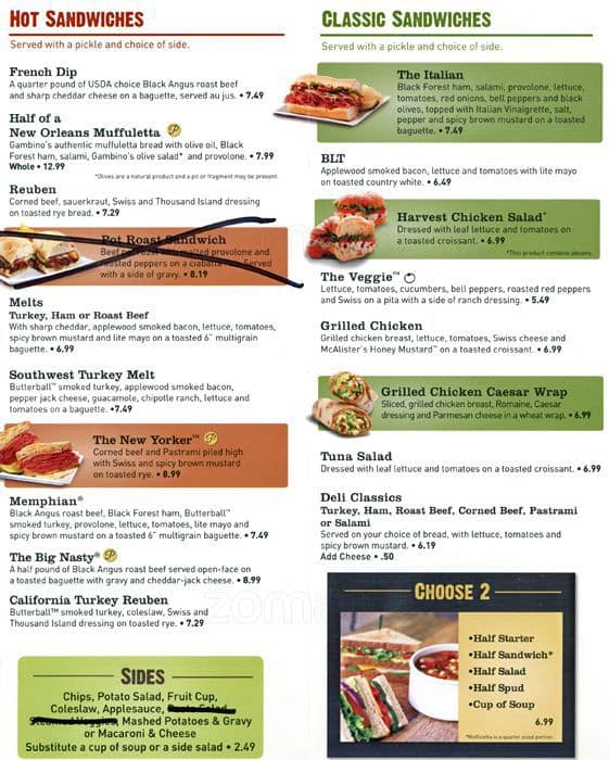 photo about Mcalister's Printable Menu called McAlisters Deli Menu, Menu for McAlisters Deli, Aurora