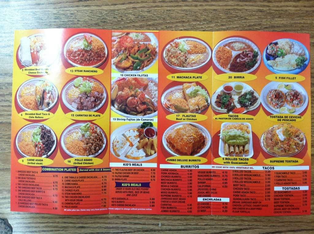 Rosarito S Mexican Food Menu