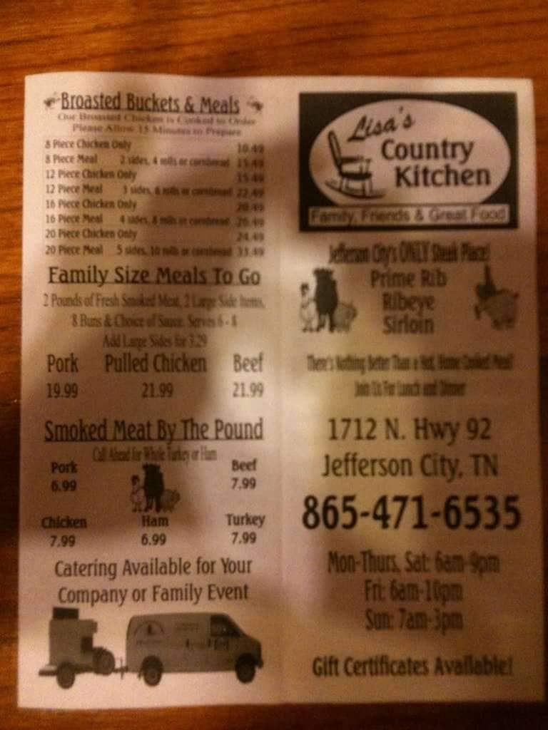 lisa's country kitchen menu - urbanspoon/zomato