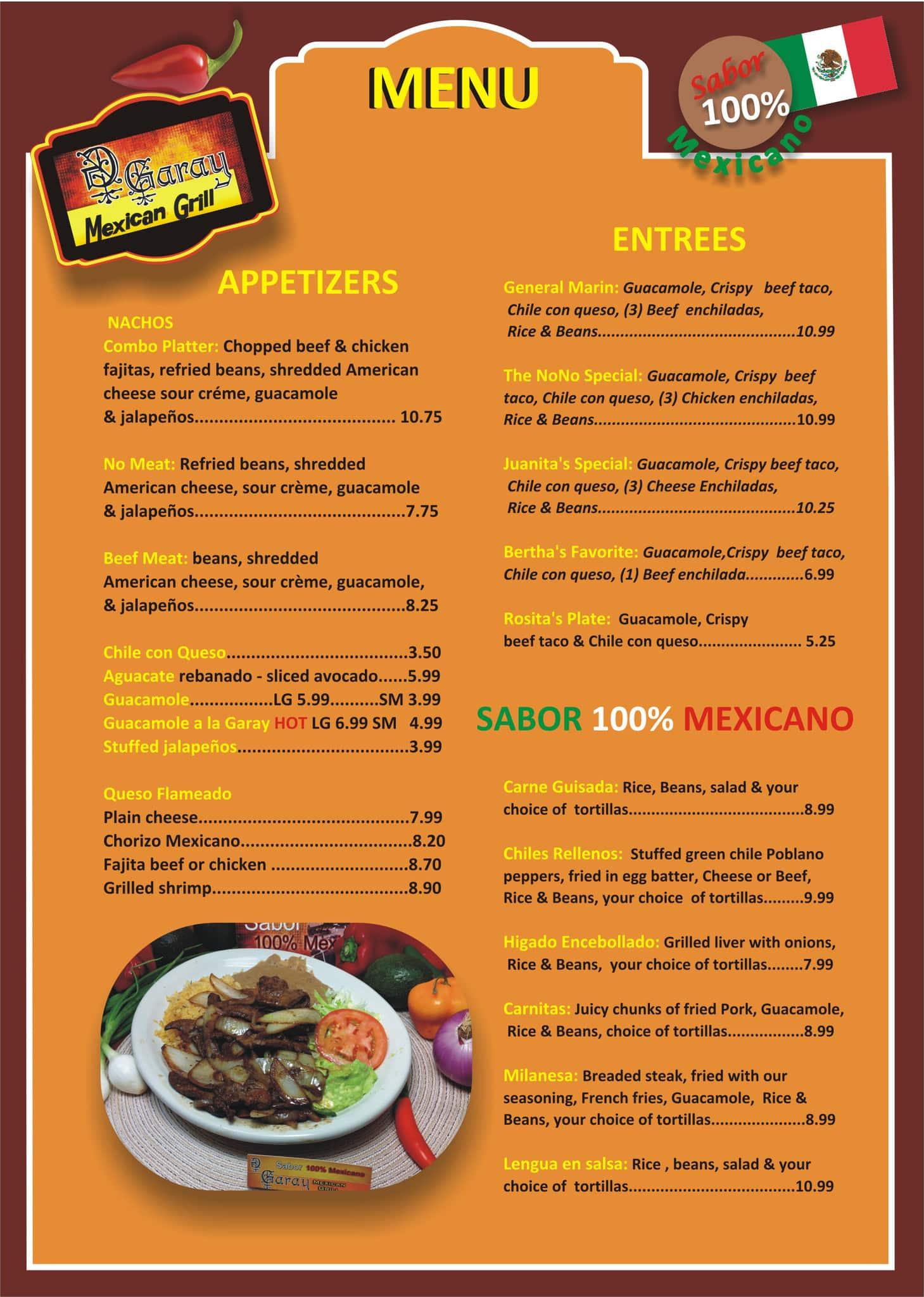 garay mexican grill menu, menu for garay mexican grill, northline