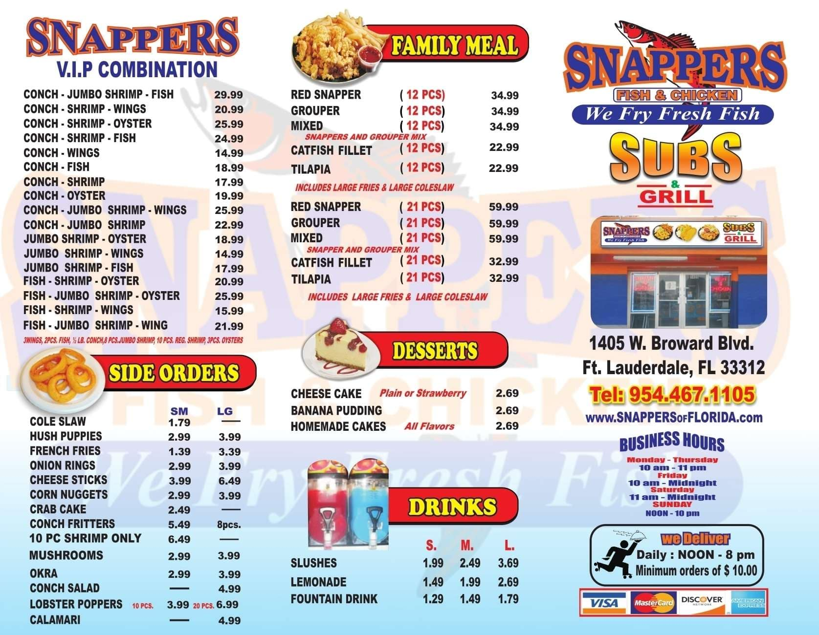 Menu at snappers fish chicken restaurant fort for Fish and chicken menu