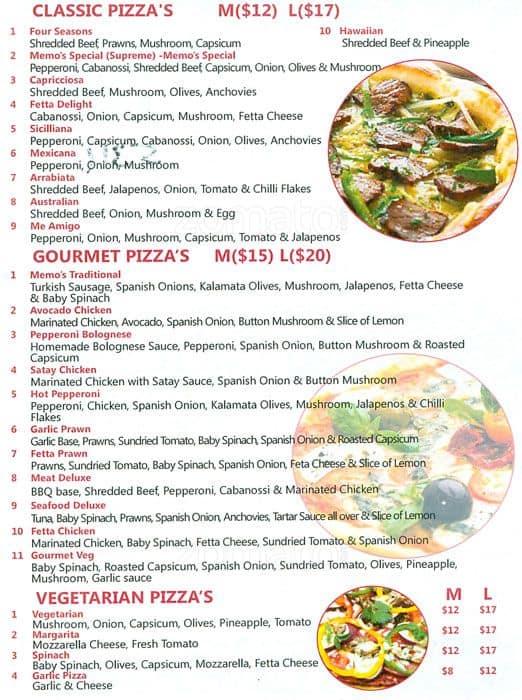 menu at memo s restaurant homebush west