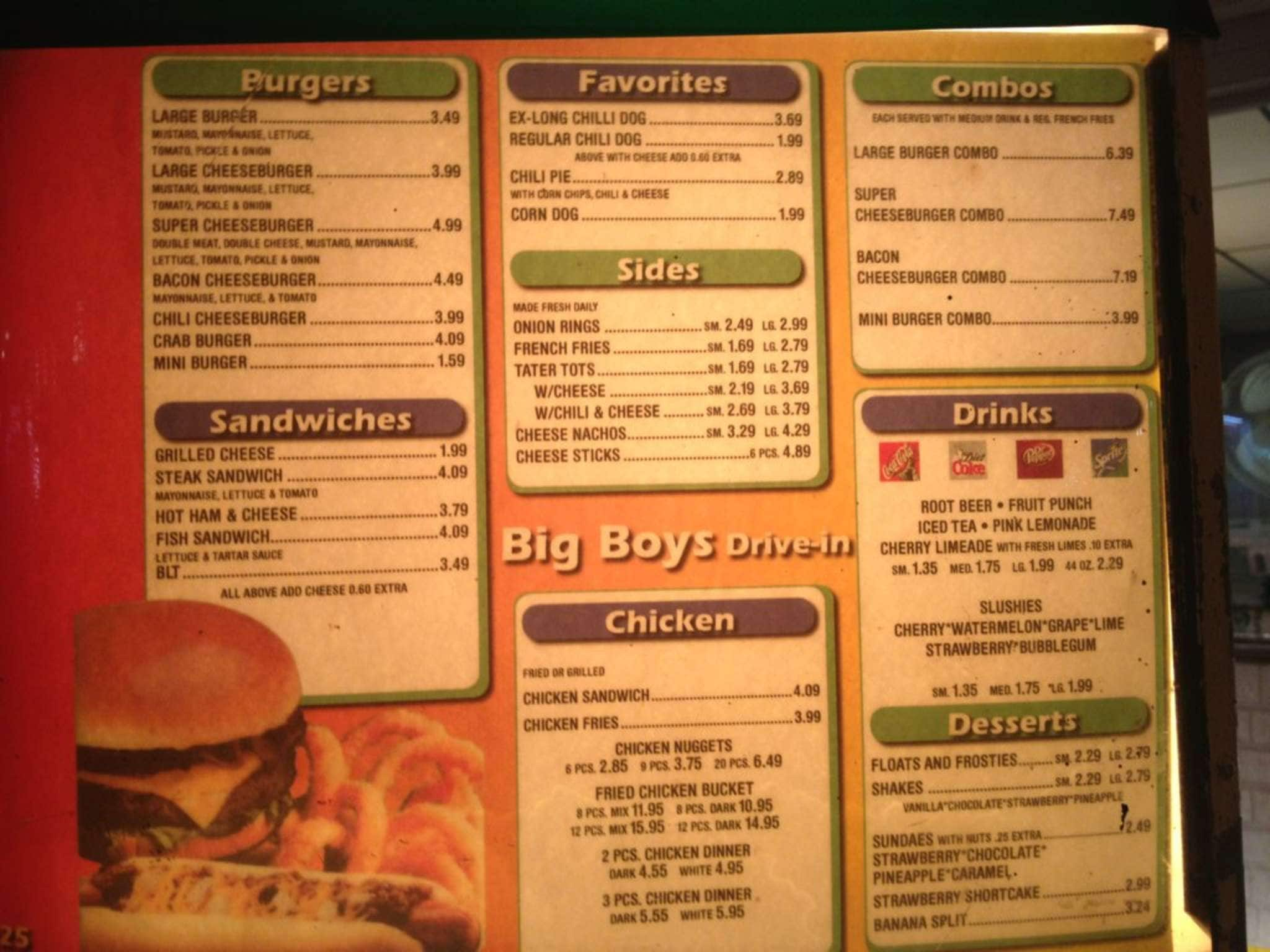 Big Boy's Drive-in Menu