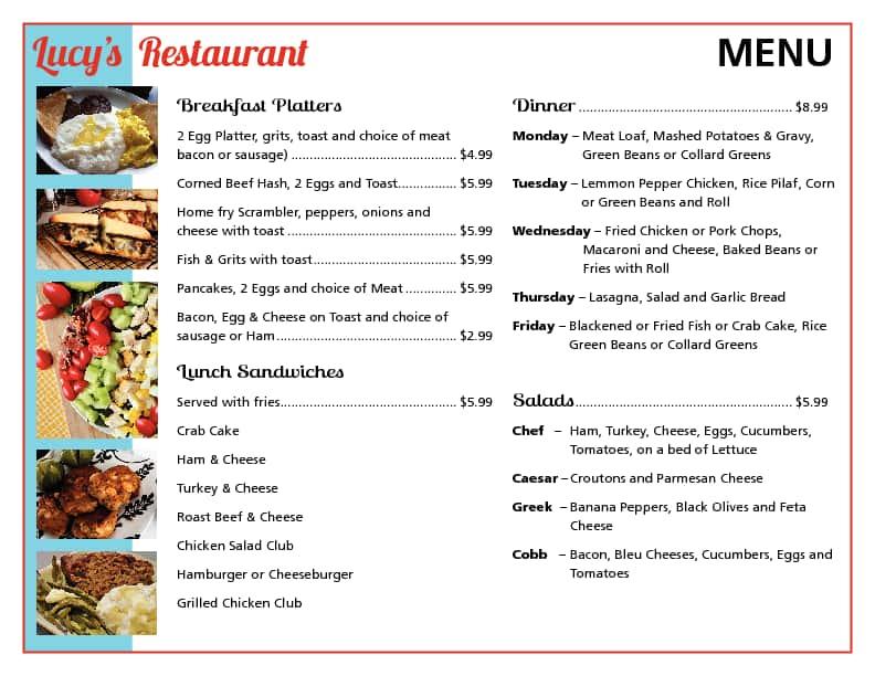 lucys kitchen menu - Lucys Kitchen