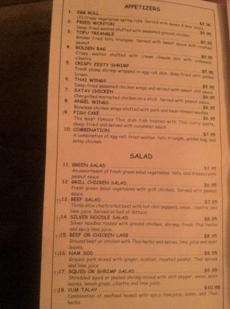 thai kitchen menu, menu for thai kitchen, fort walton beach