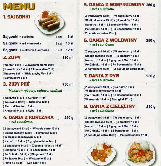 Viet Thai Menu Menu Restauracji Viet Thai Bemowo Warszawa
