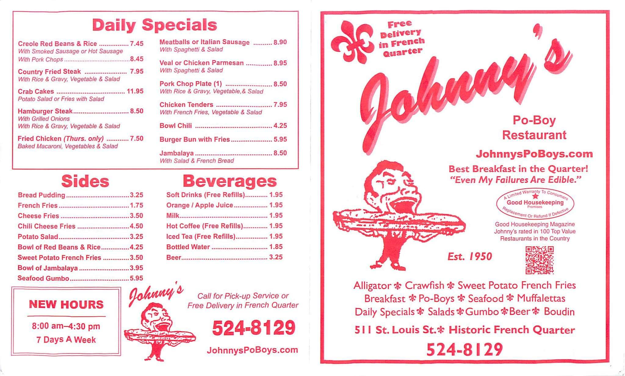 Johnny S Po Boys French Quarter Menu