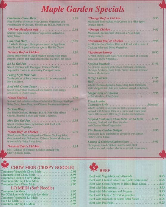 Exceptional Scanned Menu For Maple Garden Chinese