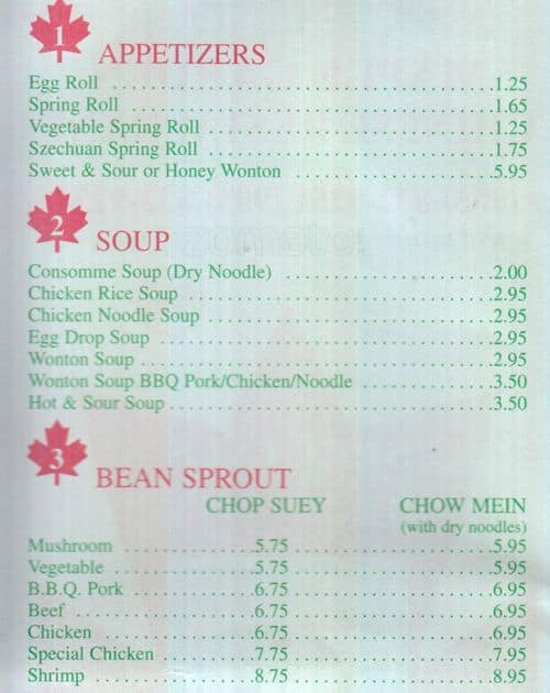 Scanned Menu For Maple Garden Chinese