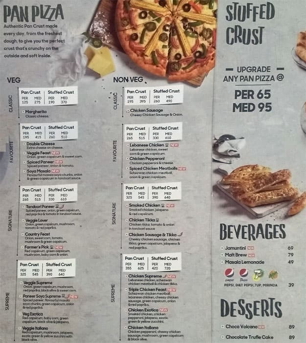 Pizza Hut Menu Menu For Pizza Hut Bistupur Jamshedpur