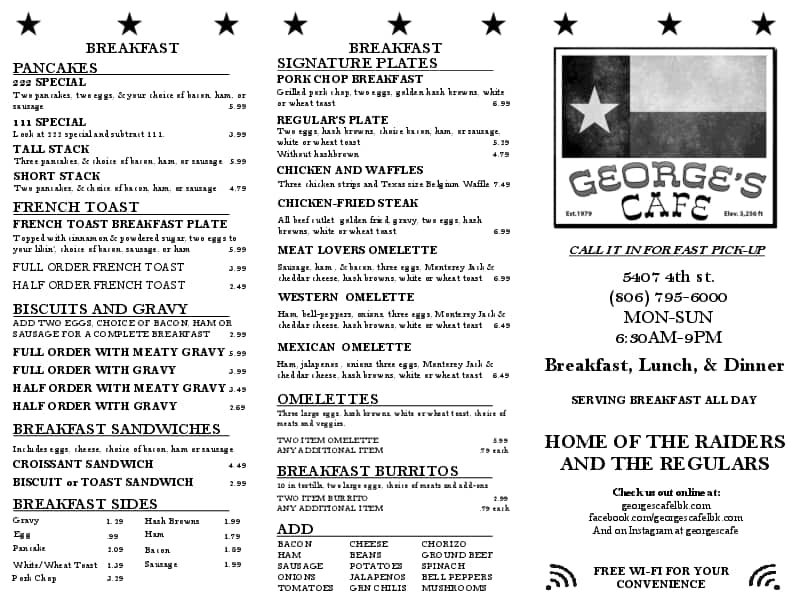 Georges Restaurant Lubbock Menu