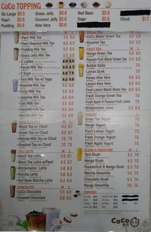 CoCo Fresh Tea & Juice Menu - Urbanspoon/Zomato
