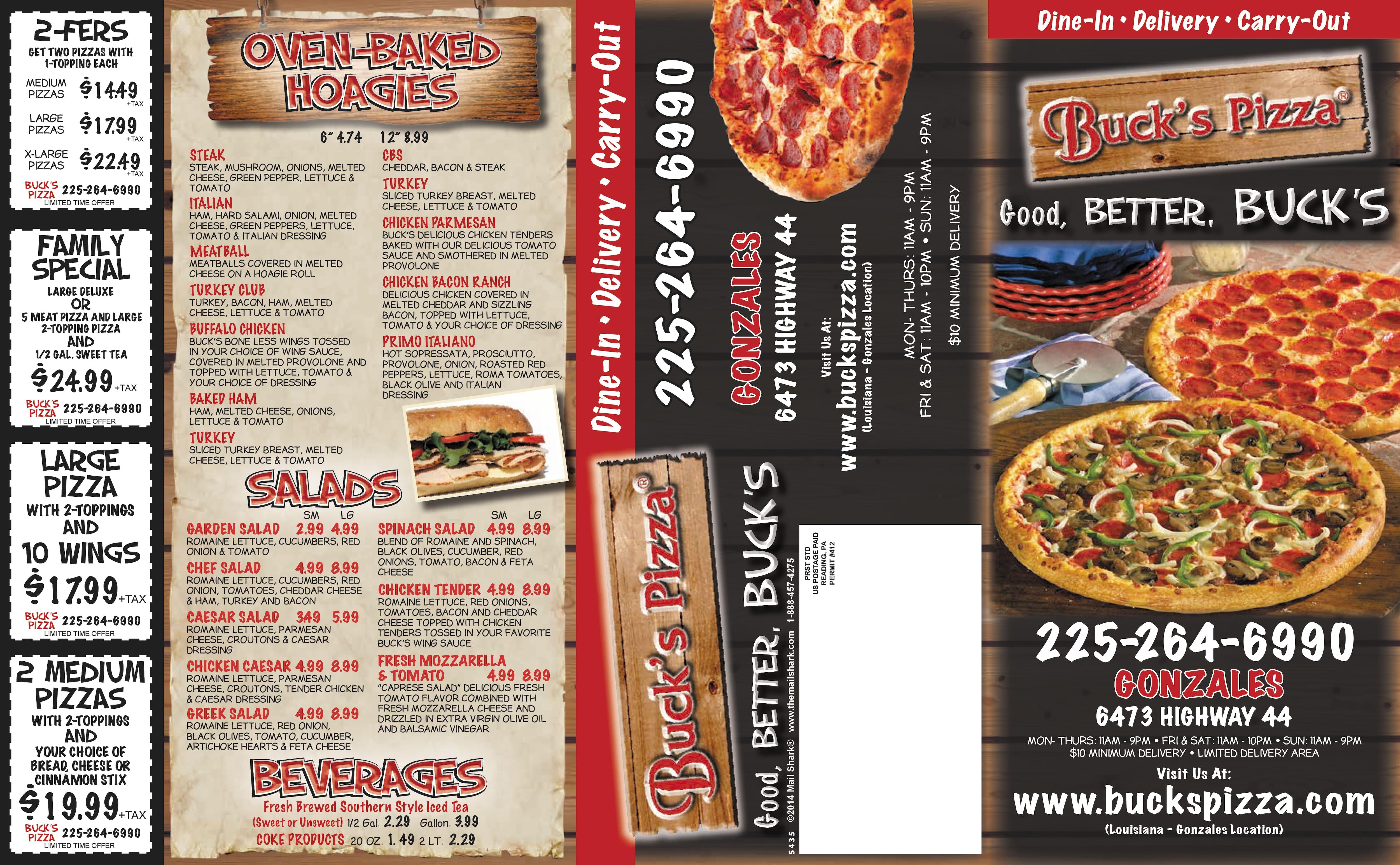 Bucks Pizza Menu