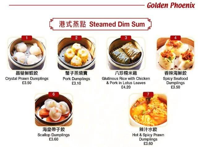 Golden Phoenix Menu, Menu for Golden Phoenix, Chinatown