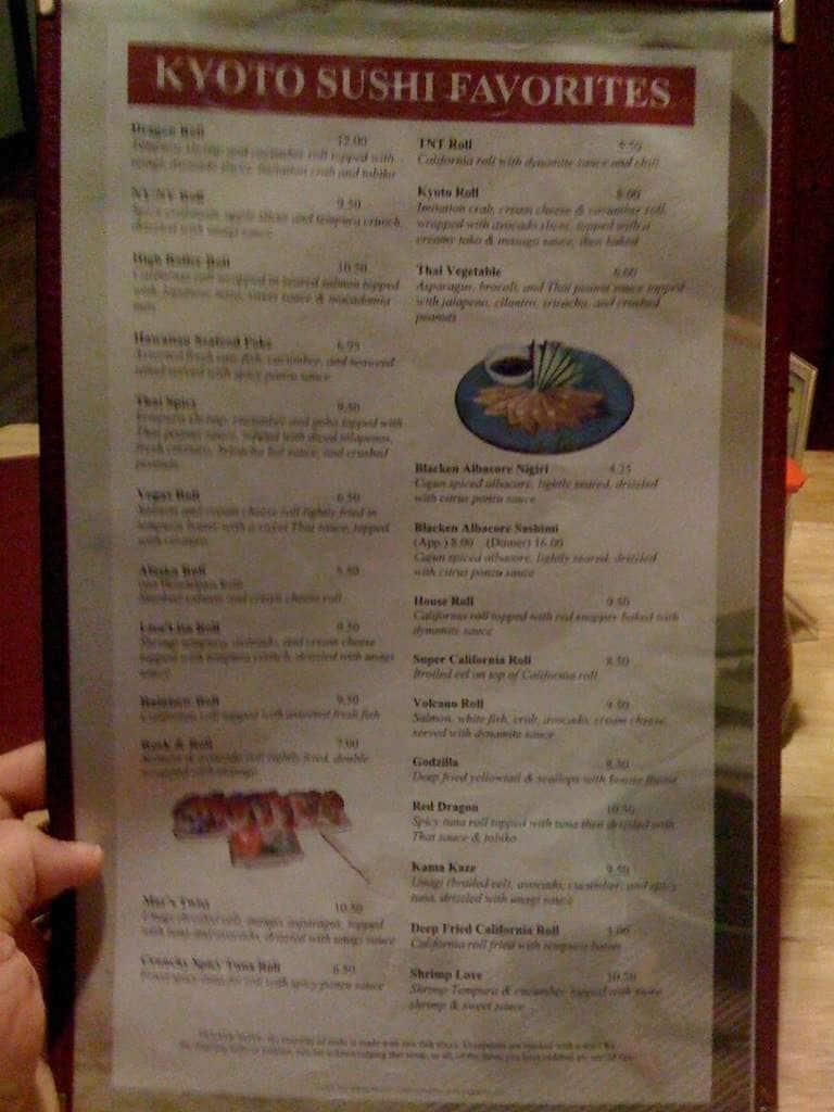Kyoto Anese Restaurant Rolla Menu