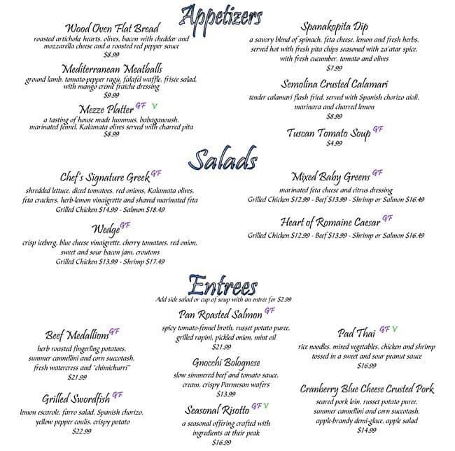 Restaurant O Mythos Menu