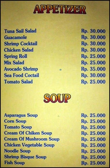 Restaurant Menu In Indonesia