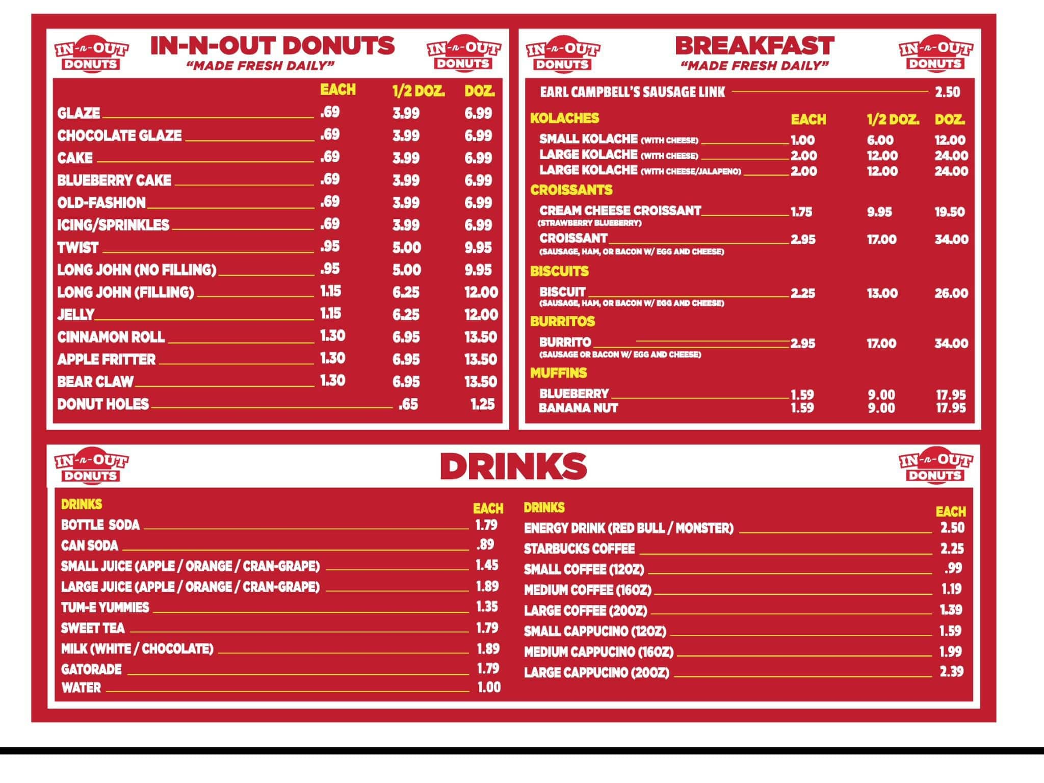 In N Out Menu >> In N Out Donuts Menu Menu For In N Out Donuts Ruston Ruston