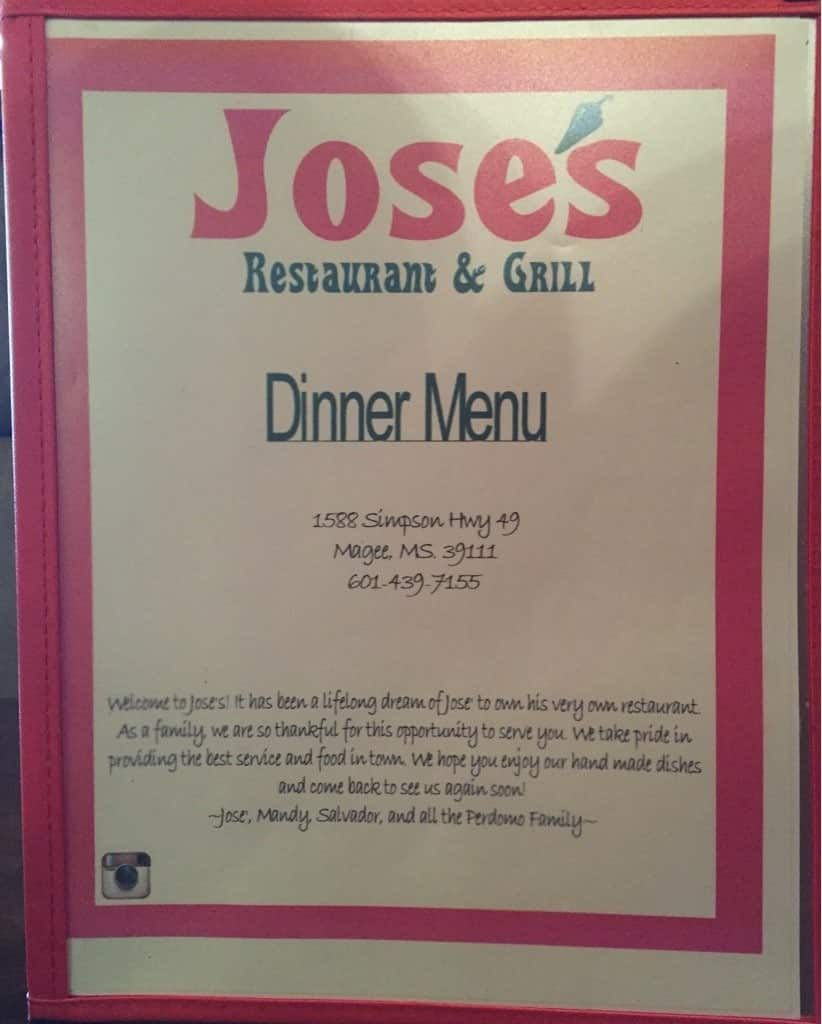 Jose S Restaurant And Grill Magee Menu