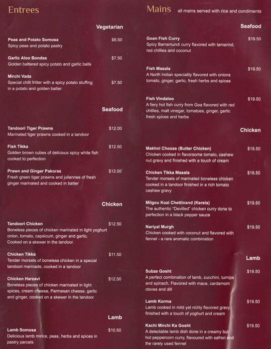 La Via Restaurant Brisbane Menu