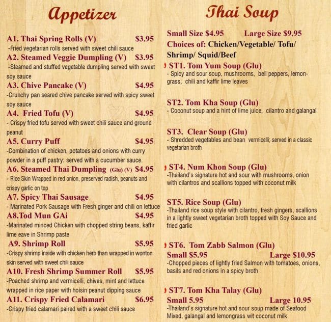 Thai Food Soup Menu