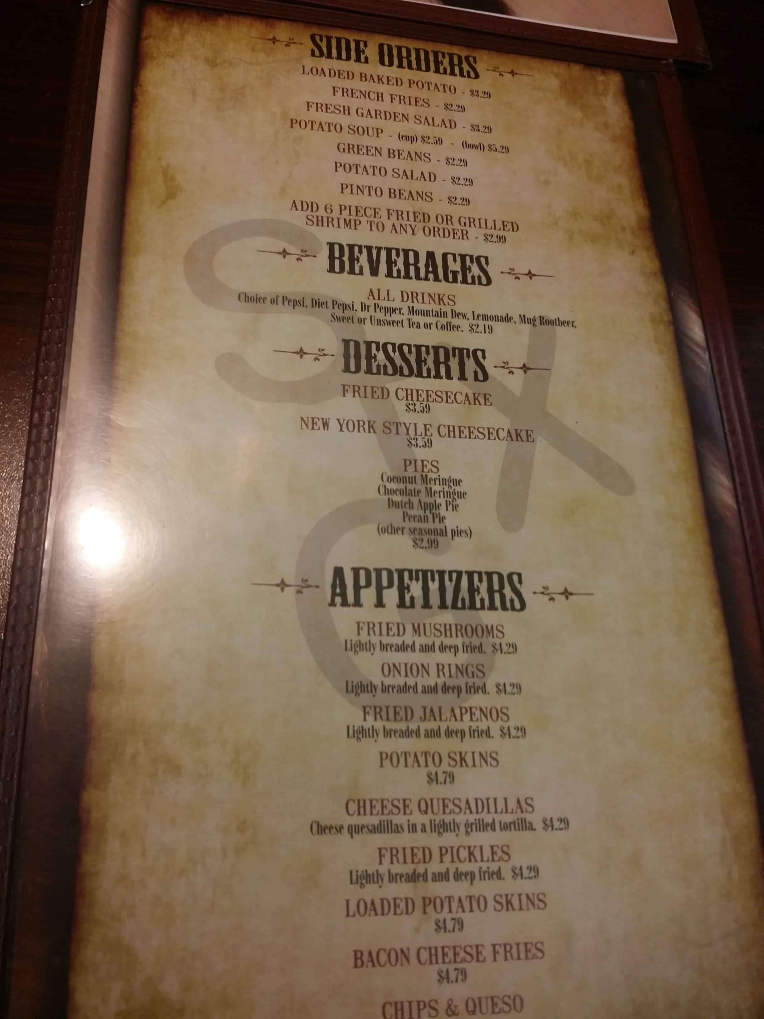 Menu at Skeet\'s Texas Grill restaurant, Abilene, Southwest Dr