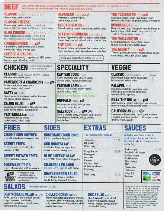 Gourmet Burger Kitchen Manchester Menu