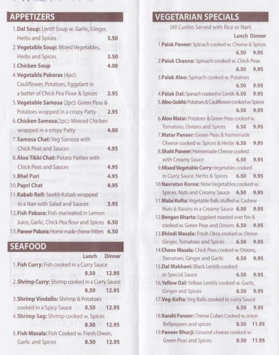 Swagat Indian Restaurant Menu Menu For Swagat Indian Restaurant