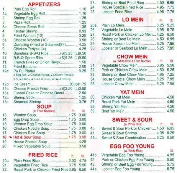 Chinese Food Menu In Philadelphia