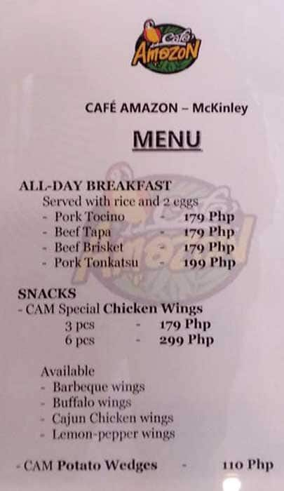 Cafe Amazon Menu, Menu for Cafe Amazon, McKinley Hill, Taguig City