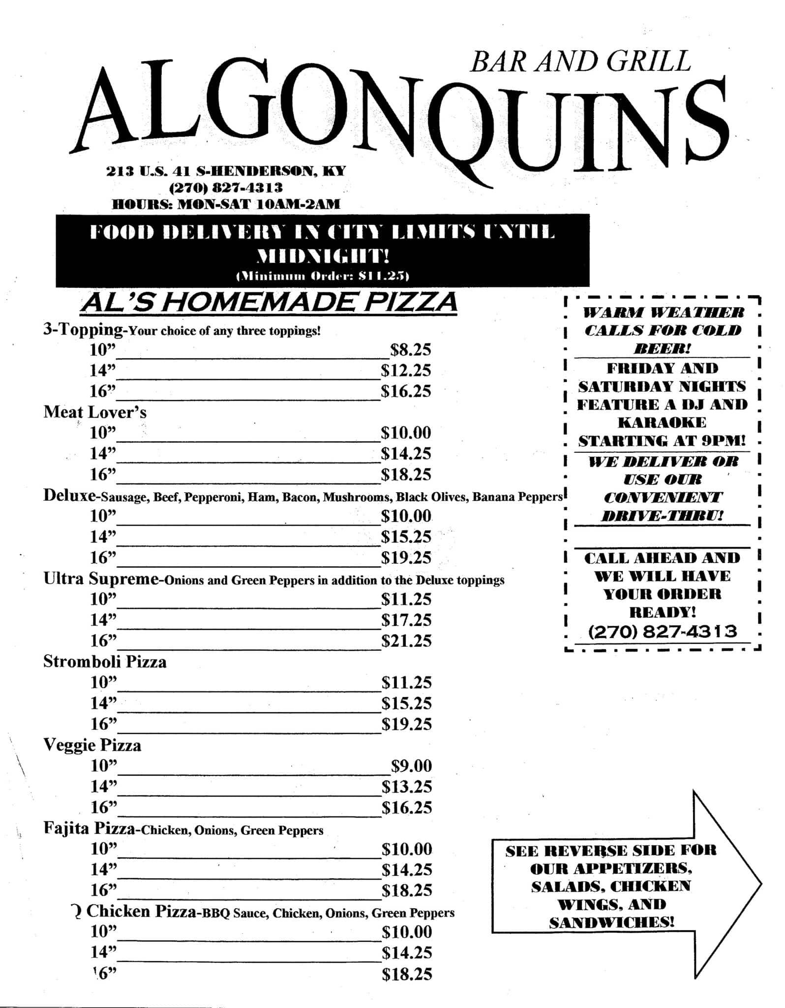 Algonquins Iii Menu Menu For Algonquins Iii Henderson Henderson