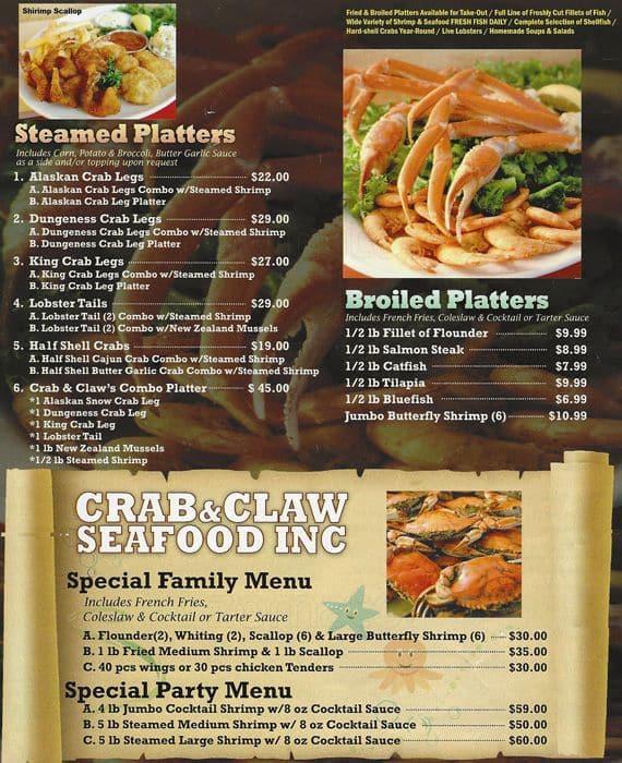 Crab Claw Menu