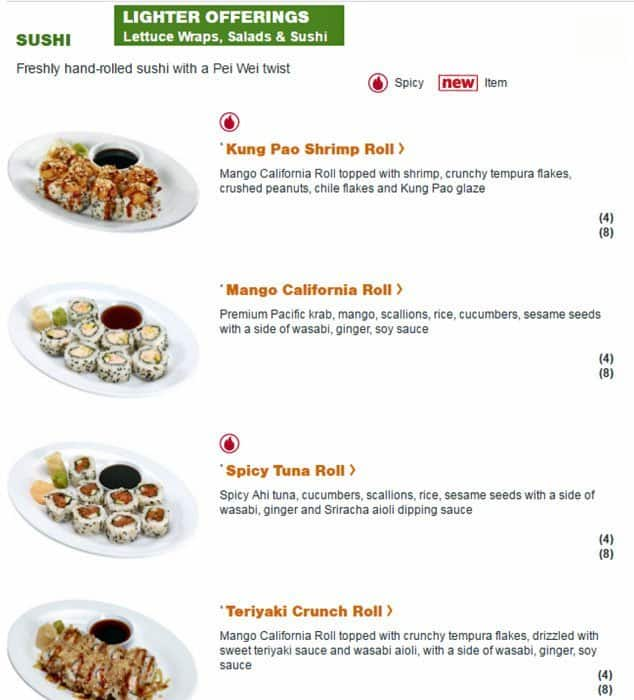 Pei Wei Asian Diner Menu Menu For Pei Wei Asian Diner Montrose