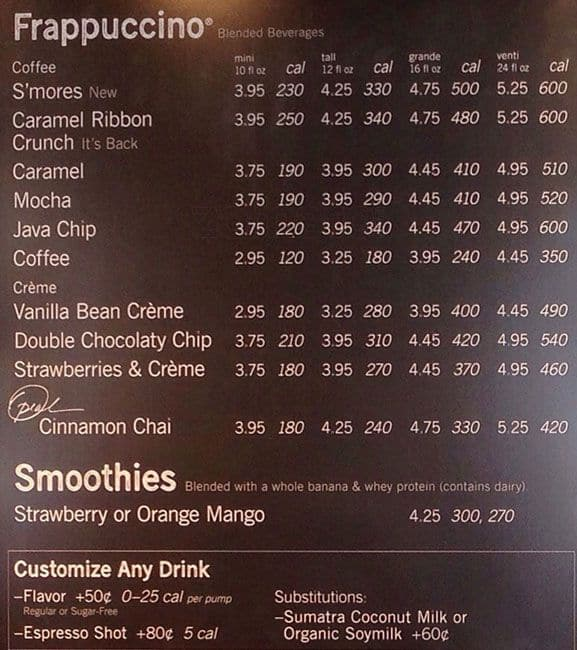 Starbucks Menu, Menu for Starbucks, Zalka, Metn - Zomato ...