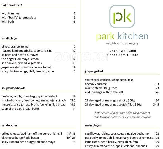 Park Kitchen Miramar Menu