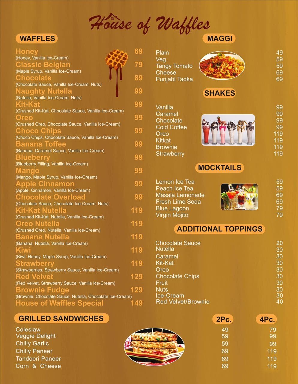 House of Waffles Menu, Menu for House of Waffles, Dilshad Garden ...