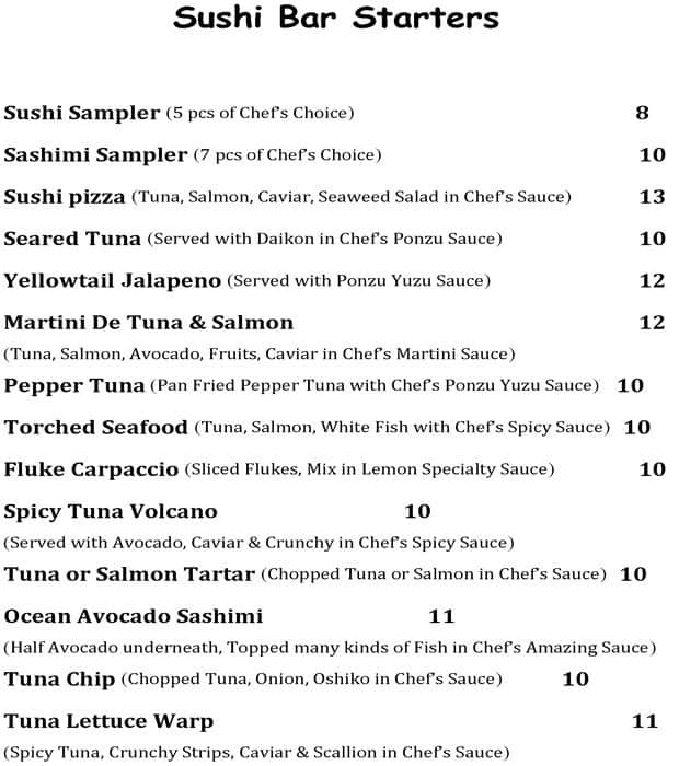 Fusion Restaurant Asian Cuisine And Sushi West Chester Menu